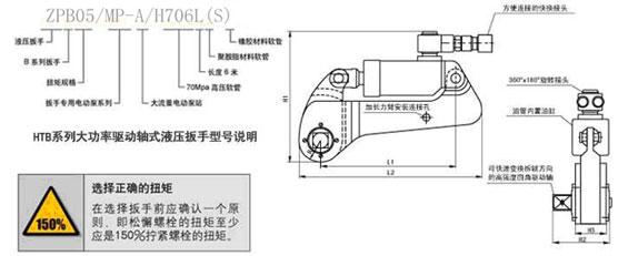 驱动式大功率液压扳手ZPB系列产品特点: . 采用铝钛合金及特殊合金钢材料制造; . 360°的旋转油管接头,无使用空间限制; . 结构简单、维护方便、经济实用; . 采用精密棘轮,精度高达±3%; . 适配多种异型套筒(A、B、C、D型) 及超长套筒以适应不同的工况要求; . 超大扭矩设计,可实现180000Nm及更大扭矩值; .